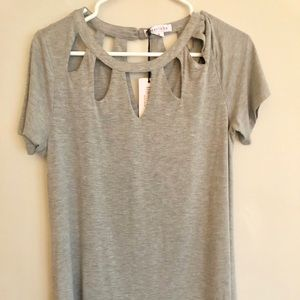New with tags Loveriche Grey Cut-Out Neckline Top